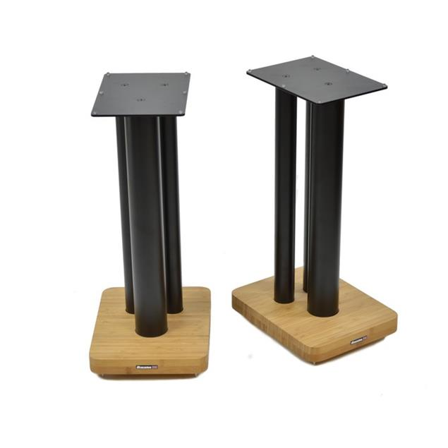 Atacama Moseco XL600 - loudspeaker stands (620 mm / black & base plate made of light bamboo solid wood = natural bamboo / 1 pair)