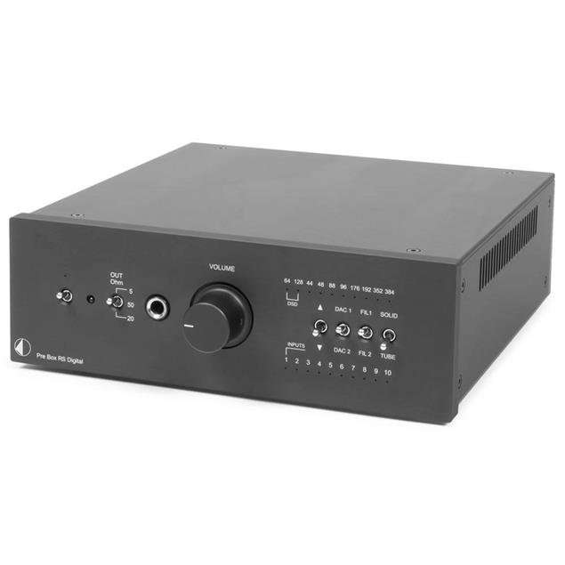 Pro-Ject Pre Box RS Digital - digital high-end preamplifier (DAC / XLR / headphone amp / incl. IR remote control / black)