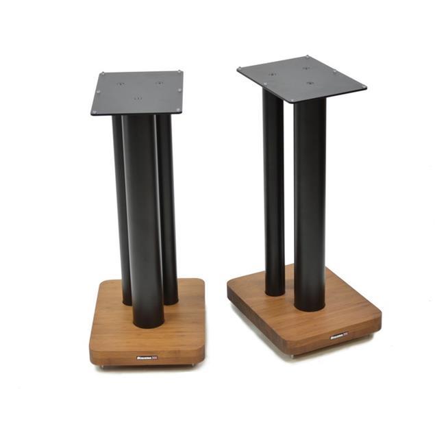 Atacama Moseco XL600 - loudspeaker stands (620 mm / black & base plate made of dark bamboo solid wood = dark bamboo / 1 pair)
