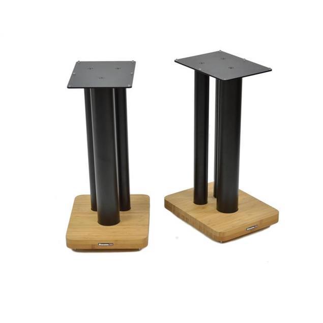 Atacama Moseco XL500 - loudspeaker stands (520 mm / black & base plate made of light bamboo solid wood = natural bamboo / 1 pair)