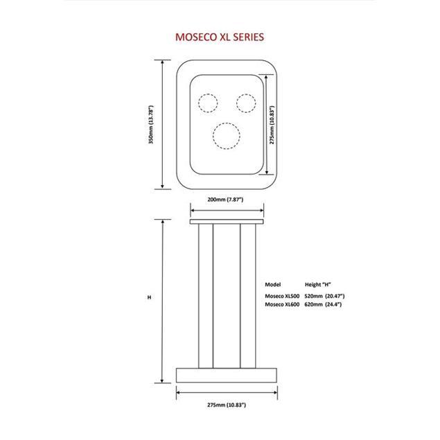 Atacama Moseco XL500 - loudspeaker stands (520 mm / black & base plate made of dark bamboo solid wood = dark bamboo / 1 pair)