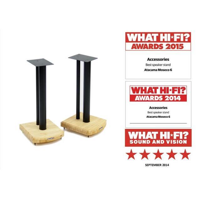 Atacama Moseco 5 - loudspeaker stands (515 mm / black & base plate made of light bamboo solid wood = natural bamboo / 1 pair)