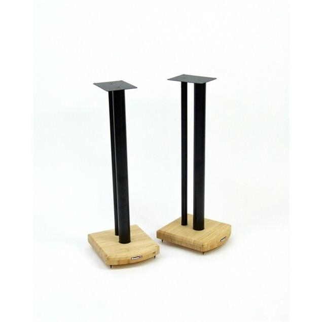 Atacama Moseco 7 - loudspeaker stands (715 mm / black & base plate made of light bamboo solid wood = natural bamboo / 1 pair)