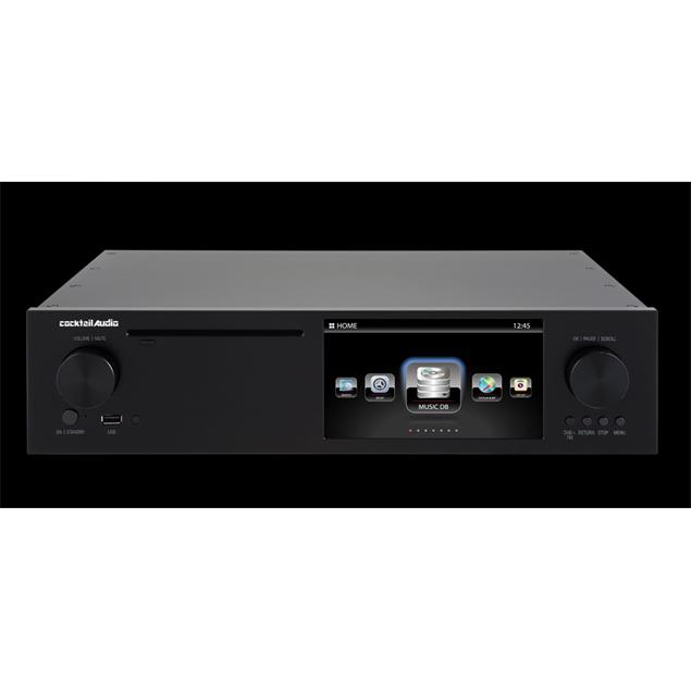 """Cocktail Audio X50 with 2TB 3,5"""" hard drive (black / All-in-One HD music server / preamplifier with XLR / phono pre)"""