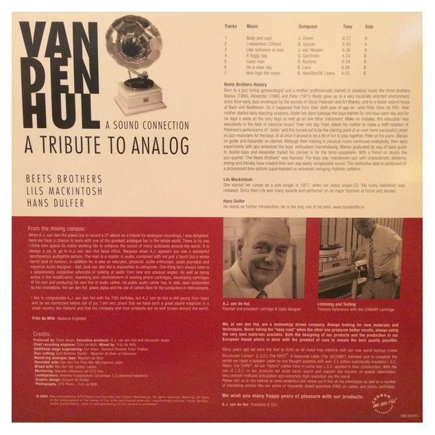 "Van den Hul Reference LP - ""A Tribute to Analog - A Sound Connection"" - demo music LP (7 tracks / 140 gram vinyl / new & sealed)"