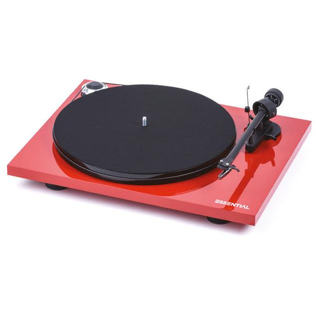 Pro-Ject Essential III - record player incl. tonearm + Ortofon cartridge OM10 (high-gloss red / incl. dust cover)
