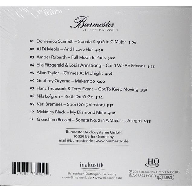 inakustik Burmester Selection Vol.1 (11 tracks / audio CD / HQCD - HiQuality CD / digipack CD in slipcase)