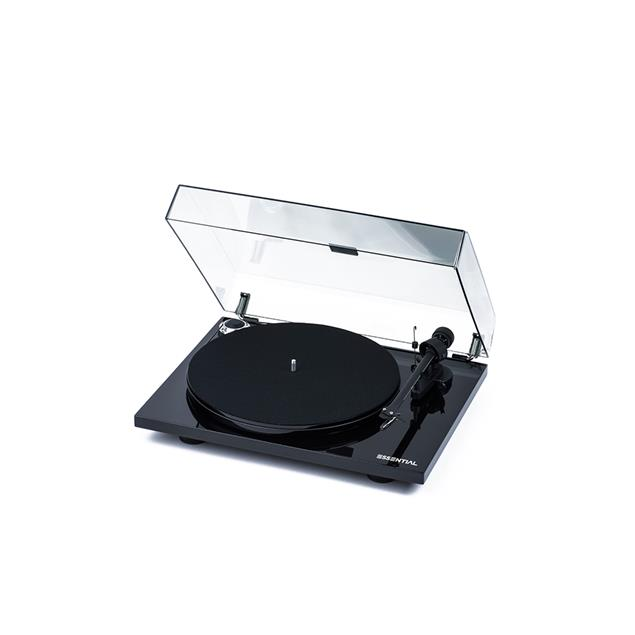 Pro-Ject Essential III BT - record player incl. tonearm + Ortofon cartridge OM10 + BT connection (high-gloss black / with BT transmitter with aptX / incl. dust cover)