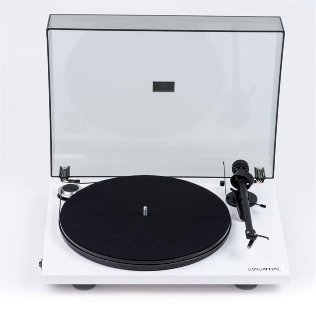 Pro-Ject Essential III BT - record player incl. tonearm + Ortofon cartridge OM10 + BT connection (high-gloss white / with BT transmitter with aptX / incl. dust cover)