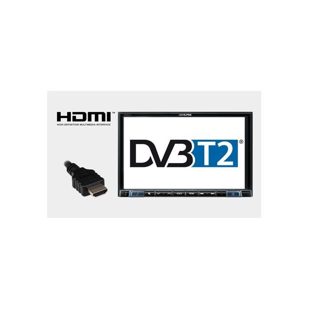 ALPINE TUE-T220DV - mobile digital TV receiver (DVB-T2 / incl. 2 antennas, remote control, HDMI output)