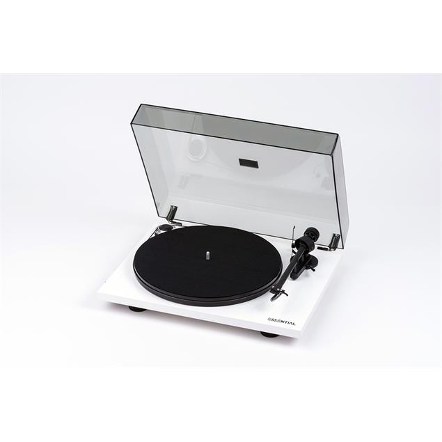 Pro-Ject Essential III Phono - record player incl. tonearm + Ortofon cartridge OM10 + phonobox (high-gloss white / incl. dust cover)