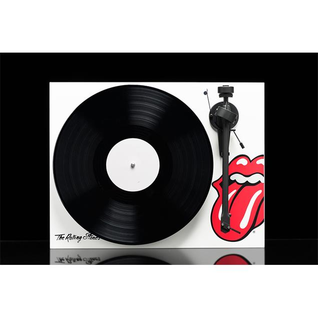 Pro-Ject Rolling Stones special edition of the Debut III - record player incl. tonearm + Ortofon MM cartridge OM10 (limited / high-gloss white / incl. dust cover)