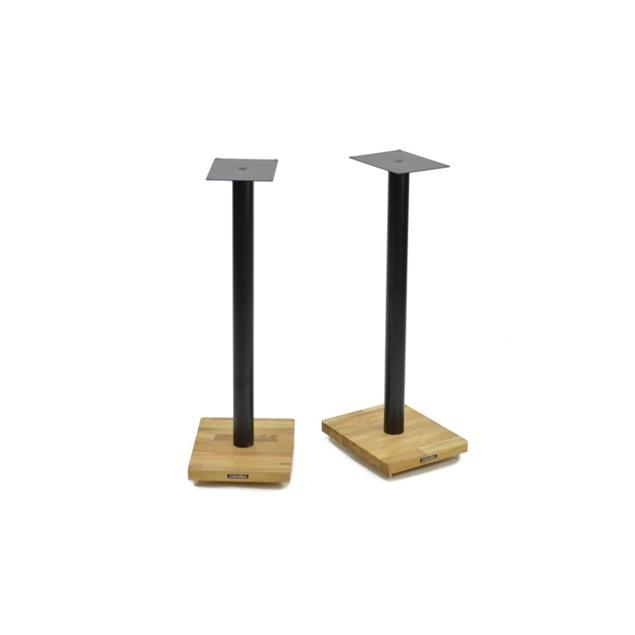 Atacama APOLLO - CYCLONE 7 - high-quality loudspeaker stands (715 mm / black & base plate made from light solid oak / incl. spikes / 1 pair)