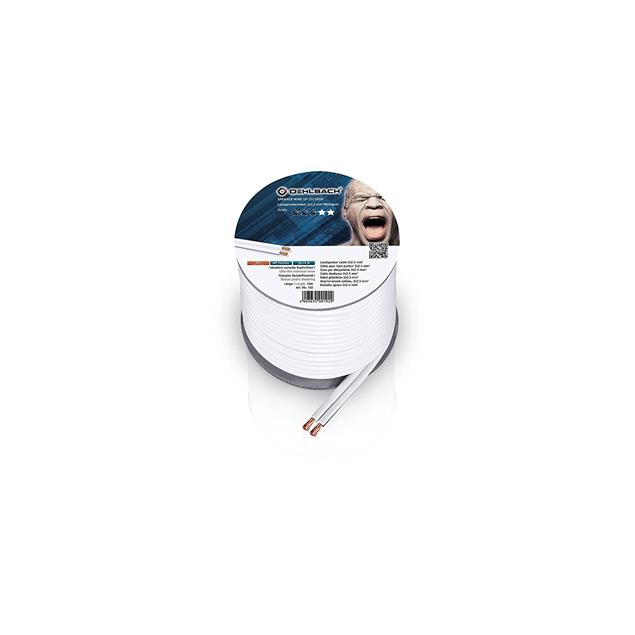 Oehlbach 192 - Speaker Wire SP-25 1000 - loudspeaker cable flexible mini-coil (10 m / white / copper / 2 x 2.5 qmm)