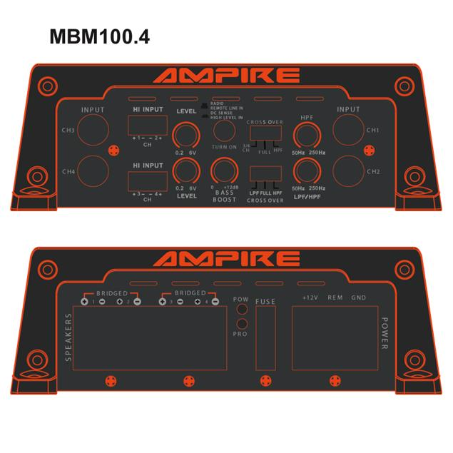 Ampire MBM100.4-2G - 4-channel digital amplifier (400 Watt RMS / 800 Watt max. / Class D)