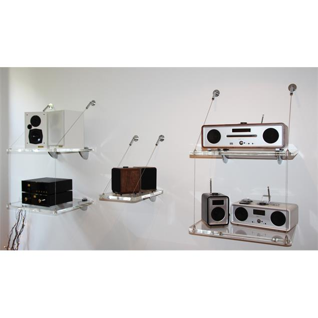 Audio Suspension ASU-100 Retrospective Shelf - add on shelf module for wall mount (clear acrylic shelf / up to 12 kg) - from the exhibition