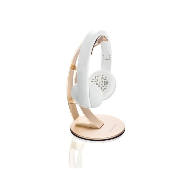 Oehlbach 35408 - Alu Style - headphone stand made from aluminum in gold finish (sand gold) and headphone rest made of 100% leather