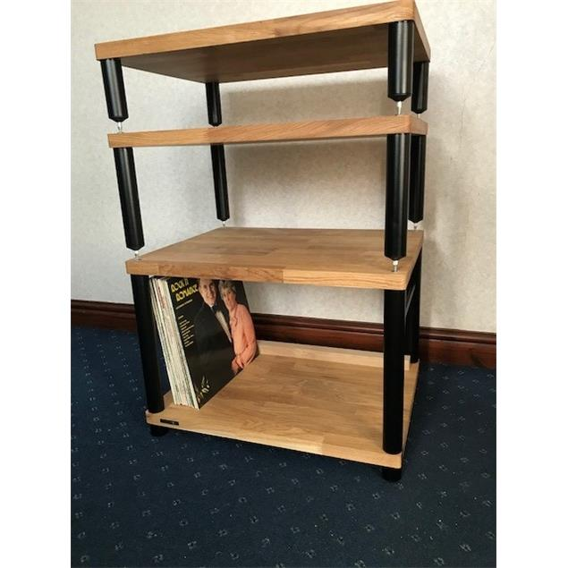 Atacama APOLLO - STORM 6 - hi-fi rack - 2-shelf base level module for ideal vinyl storage (made from light solid oak / silk black modules / incl. spikes)