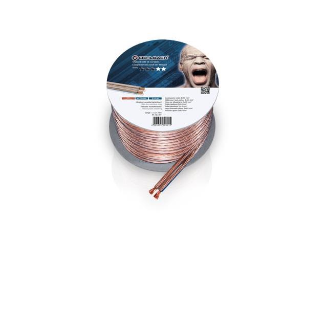 Oehlbach 301 - Speaker Wire SP-40 1000 - Loudspeaker cable flexible Mini-coil (10m / transparent / copper / 2 x 4qmm)