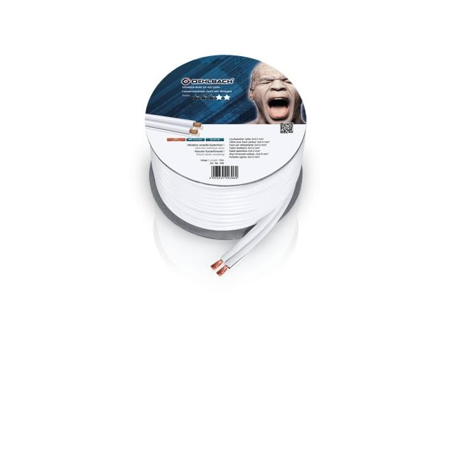 Oehlbach 306 - Speaker Wire SP-40 1000 - Loudspeaker cable flexible mini-coil (10m / white / copper / 2 x 4qmm)