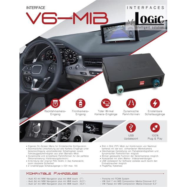 CAS V6-MIB - v.LOGiC cameraiInterface (dynamic park lines /suitable for VW/AUDI/PORSCHE MIB systems / Plug&Play / black)