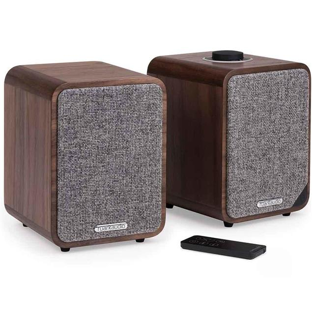 ruarkaudio MR1 MKII - active bluetooth stereo sound system (Bluetooth / Aux-In / Optical In / Class A-B Amplifier / Apt-x-Bluetooth / walnut real wood veneer)