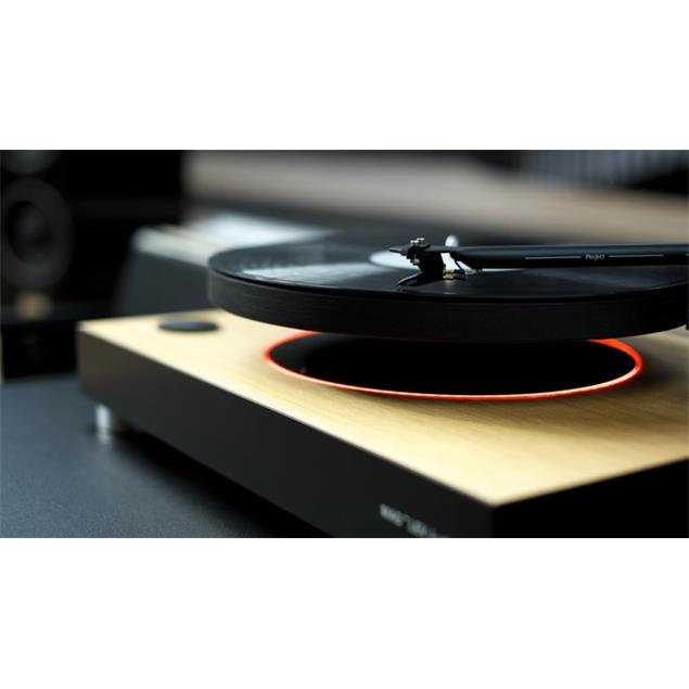 MAG-LEV Audio ML1 WOOD - levitating record player (world first / 33 & 45 rpm / Pro-Ject 9cc Carbon tone arm / Ortofon OM10 MM cartridge / ash wood optic)