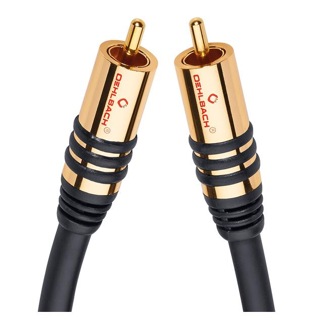 Oehlbach 21531 - NF Sub 100 - subwoofer cinch cable 1 x RCA to 1 x RCA (1.0 m / black/gold)