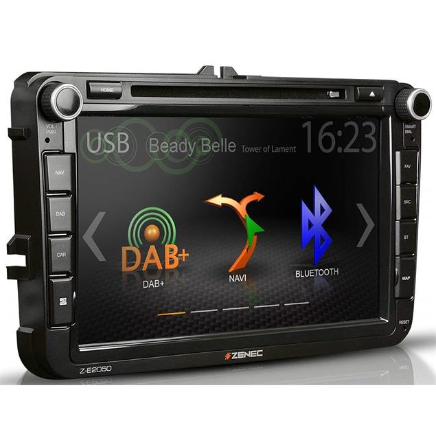 Zenec Z-E2050 - E>GO navigation device or vehicle specific naviceiver for VW, SEAT + SKODA models (DAB+ Infotainer 8 inch TFT display / BT / for iPod/iPhone)