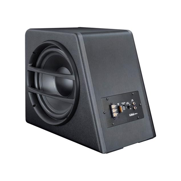 Axton AXB25A - compact active subwoofer (25 cm / 10 inch / 70 Watts RMS / black / phase shift, input gain and low pass controller on the front)