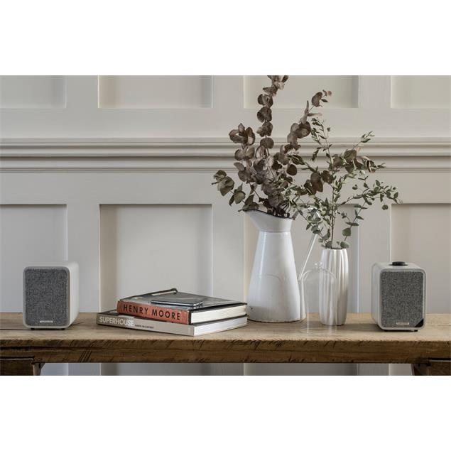 ruarkaudio MR1 MKII - active bluetooth stereo sound system (Bluetooth / Aux-In / Optical In / Class A-B Amplifier / Apt-x-Bluetooth / soft grey)