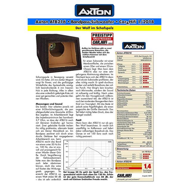 Axton ATB216 - compact bandpass subwoofer (2 x 16 cm / 2 x 6.5 inch / 250 W max. / 150 W RMS / black / incl. large push terminal)