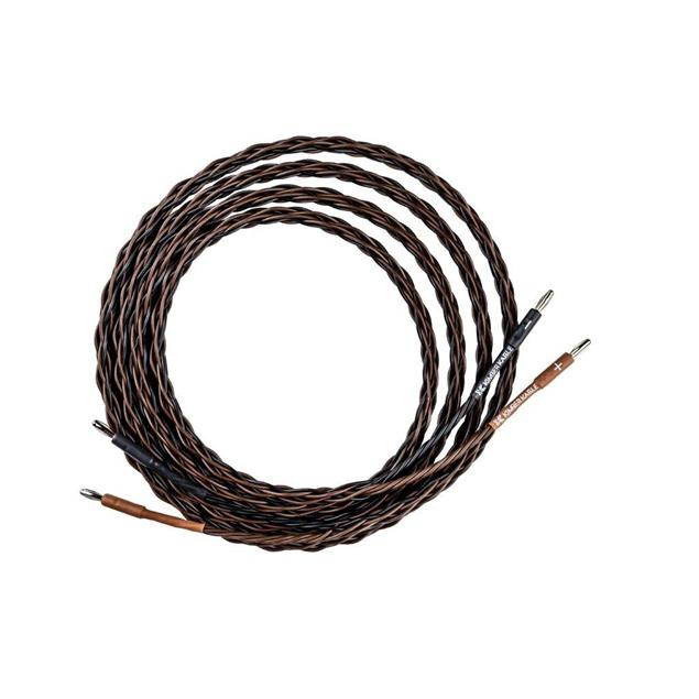 Kimber Kable 4PR - loudspeaker cable assembled on both sides with SBAN bananas (1 x 5m / black&brown / OFC / specially woven / 2 x 2mm²)