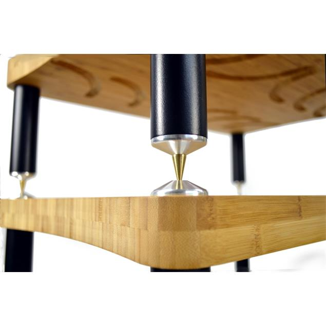 Atacama EVOQUE ECO 60/40 SE2 - SPECIAL EDITION - hi-fi rack - 215 mm shelf-module (made from light bamboo solid wood = light bamboo / satin black leg modules / incl. spikes)
