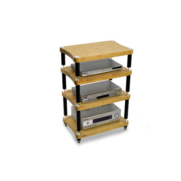 Atacama EVOQUE ECO 60/40 SE2 - hi-fi rack (4 shelves made from light bamboo solid wood = natural bamboo / satin black leg modules / incl. spikes)