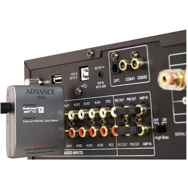 Advance Paris WTX-700 - wireless multicodec receiver (high definition audio / aptX HD / built-in external TI DAC / compatible Bluetooth-analog output / silver)