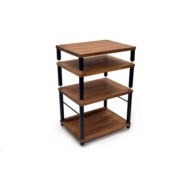 Atacama APOLLO - STORM 6 - hi-fi rack - 2-shelf base level module for ideal vinyl storage (made from dark solid oak / silk black modules / incl. spikes)