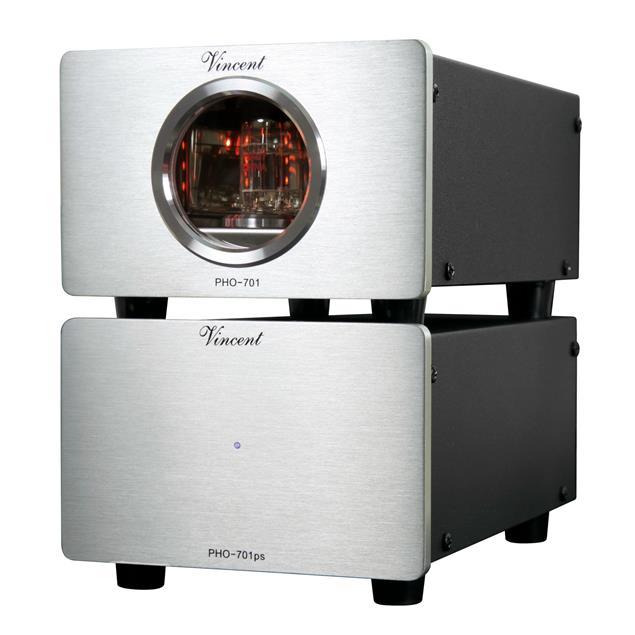 Vincent PHO-701 - phono tube preamplifier (incl. USB port / MM and MC switch on rear panel / 15 Watts power consumption / silver)