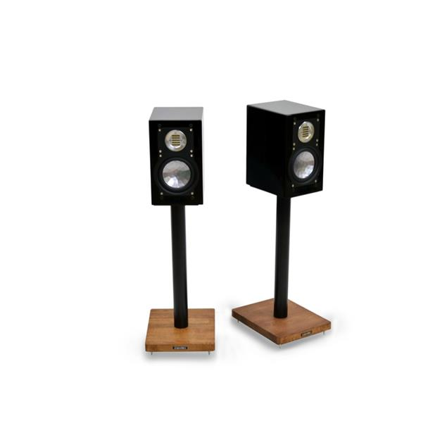 Atacama APOLLO - CYCLONE 5 - high-quality loudspeaker stands (515 mm / black & base plate made from dark solid oak / incl. spikes / 1 pair)