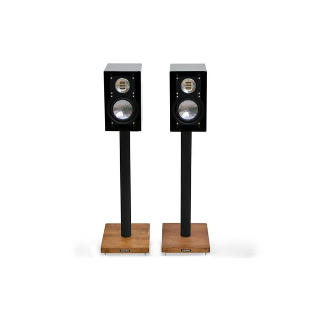 Atacama APOLLO - CYCLONE 6 - high-quality loudspeaker stands (615 mm / black & base plate made from dark solid oak / incl. spikes / 1 pair)