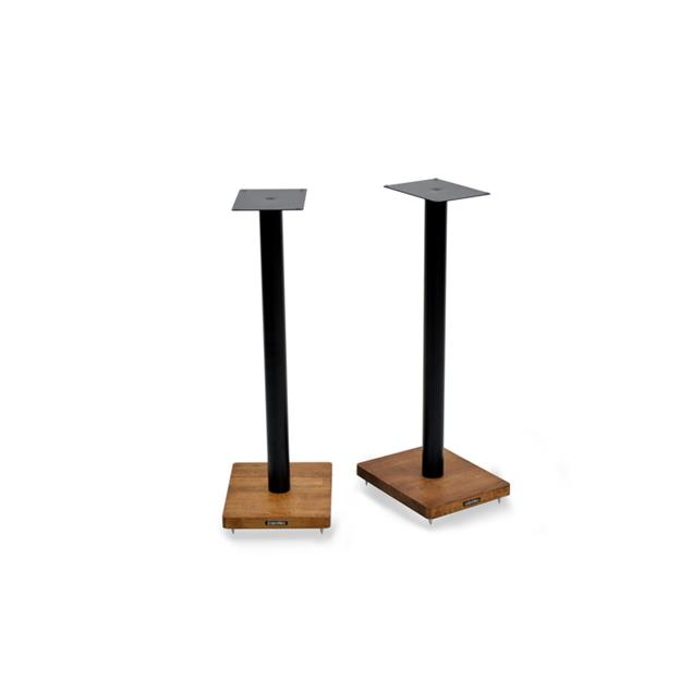 Atacama APOLLO - CYCLONE 7 - high-quality loudspeaker stands (715 mm / black & base plate made from dark solid oak / incl. spikes / 1 pair)