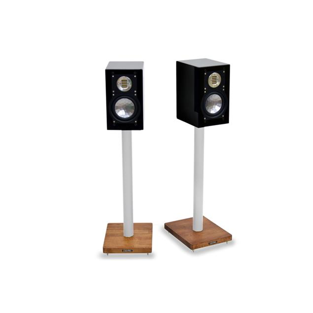 Atacama APOLLO - CYCLONE 6 - high-quality loudspeaker stands (615 mm / white & base plate made from dark solid oak / incl. spikes / 1 pair)