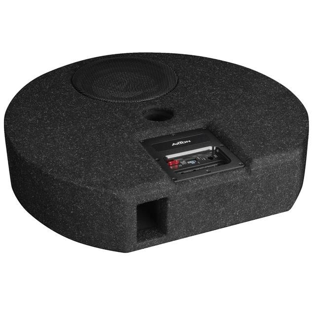 Axton ATB20RXF - extra flat active subwoofer for the spare tire well (20 cm / 8 inch / 100 Watts RMS / black / particularly space-saving)