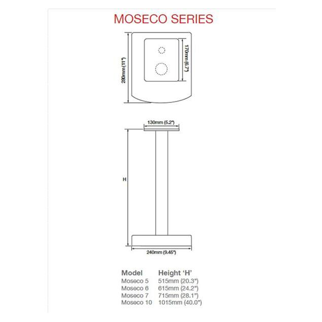 Atacama Moseco 6 - loudspeaker stands (615 mm / white & base plate made of light bamboo solid wood = natural bamboo / 1 pair)