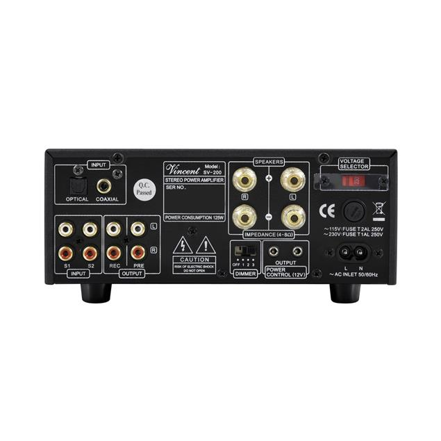 Vincent SV-200 - hybrid stereo integrated amplifier (2x 50 Watts RMS at 8 Ohms / 2x 35 Watts RMS at 4 Ohms / incl. remote control / black)