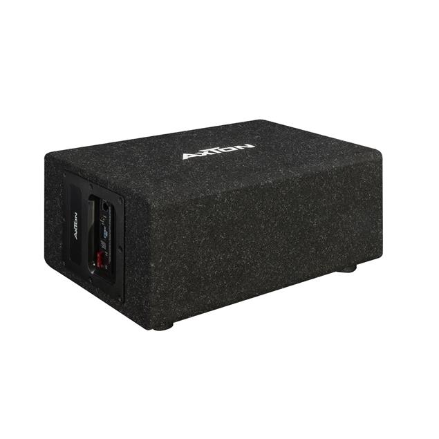 Axton ATB120QBA - compact cube bass reflex active subwoofer (20 cm / 8 inches / 100 W RMS / for cars, trucks, motorhomes / plug & play)